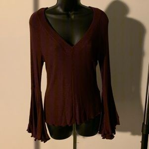 NWOT Intimately Free People maroon flared arm top